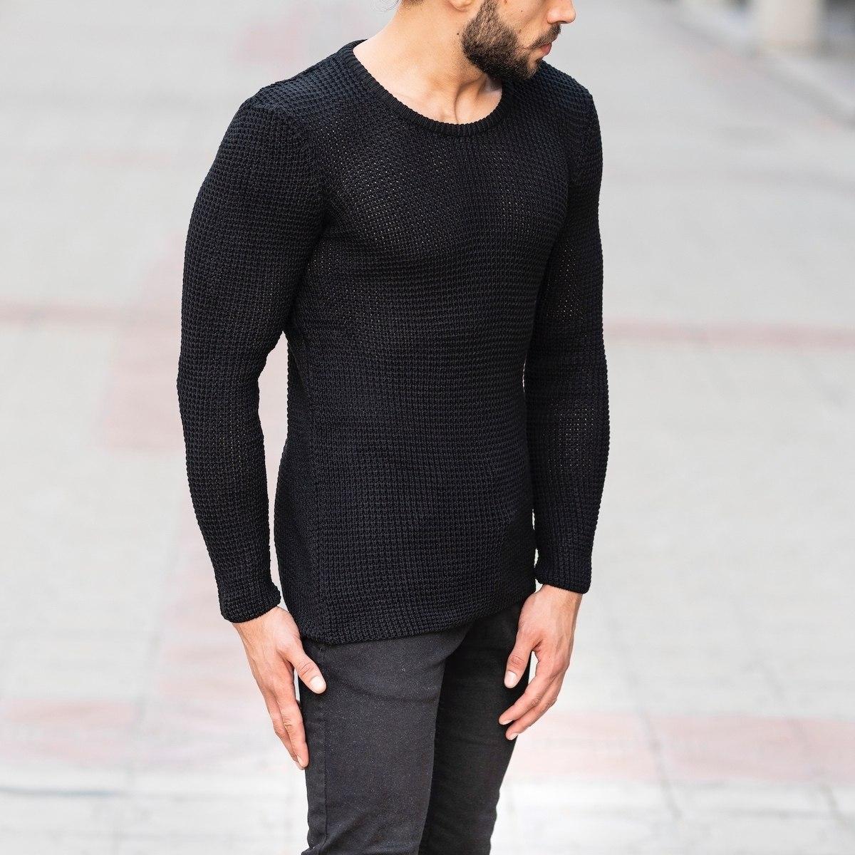 Knitted Pullover In Black Mv Premium Brand - 2