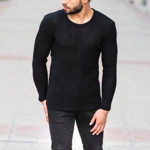 Knitted Pullover In Black Mv Premium Brand - 3