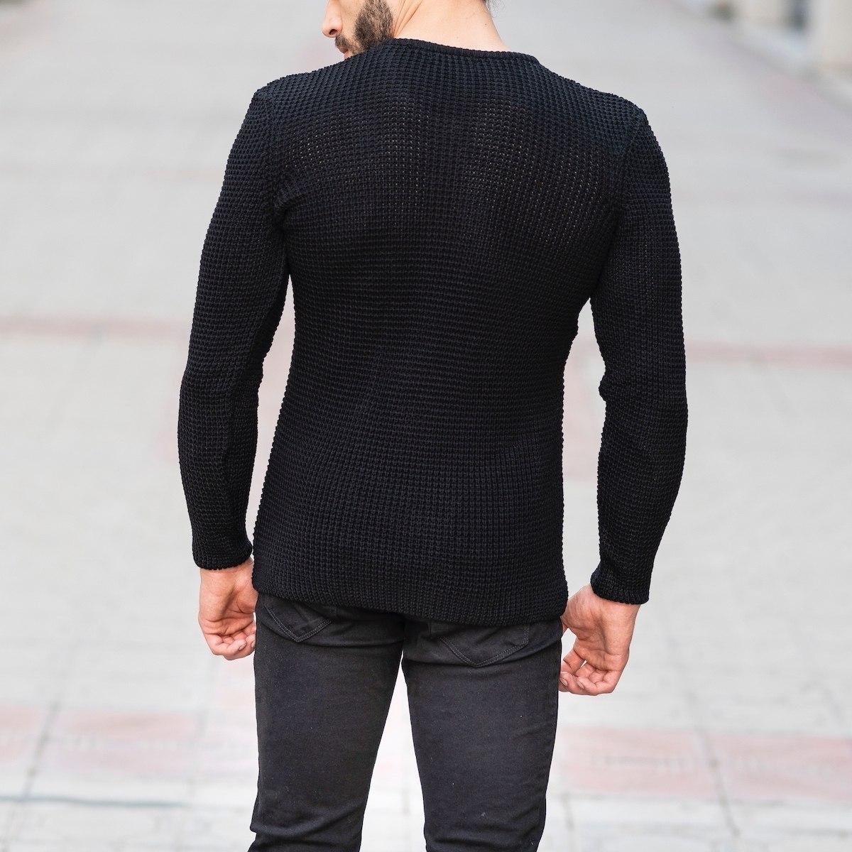 Knitted Pullover In Black Mv Premium Brand - 4