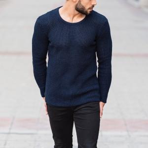 Knitted Pullover In Navy Blue Mv Premium Brand - 1