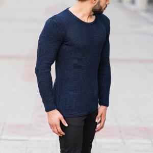 Knitted Pullover In Navy Blue Mv Premium Brand - 2