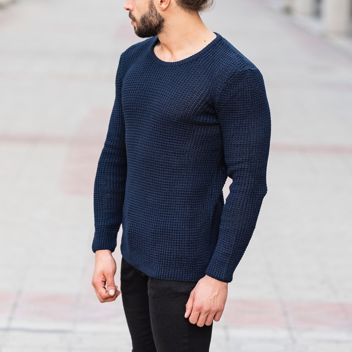 Knitted Pullover In Navy Blue Mv Premium Brand - 3