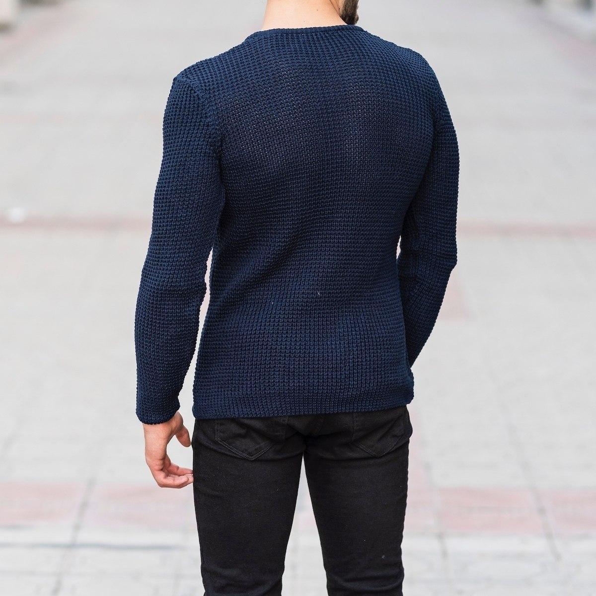 Knitted Pullover In Navy Blue Mv Premium Brand - 4