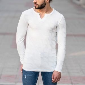 Geometric Detailed Sweatshirt In White Mv Premium Brand - 1