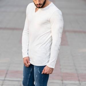 Geometric Detailed Sweatshirt In White Mv Premium Brand - 2