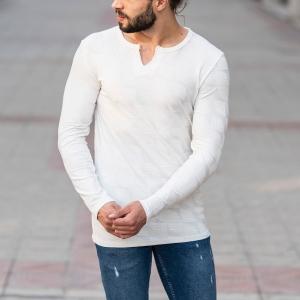 Geometric Detailed Sweatshirt In White Mv Premium Brand - 3