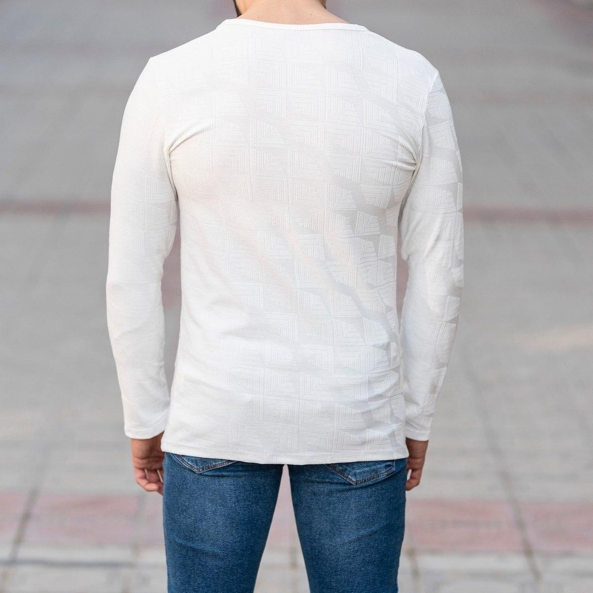 Geometric Detailed Sweatshirt In White Mv Premium Brand - 4