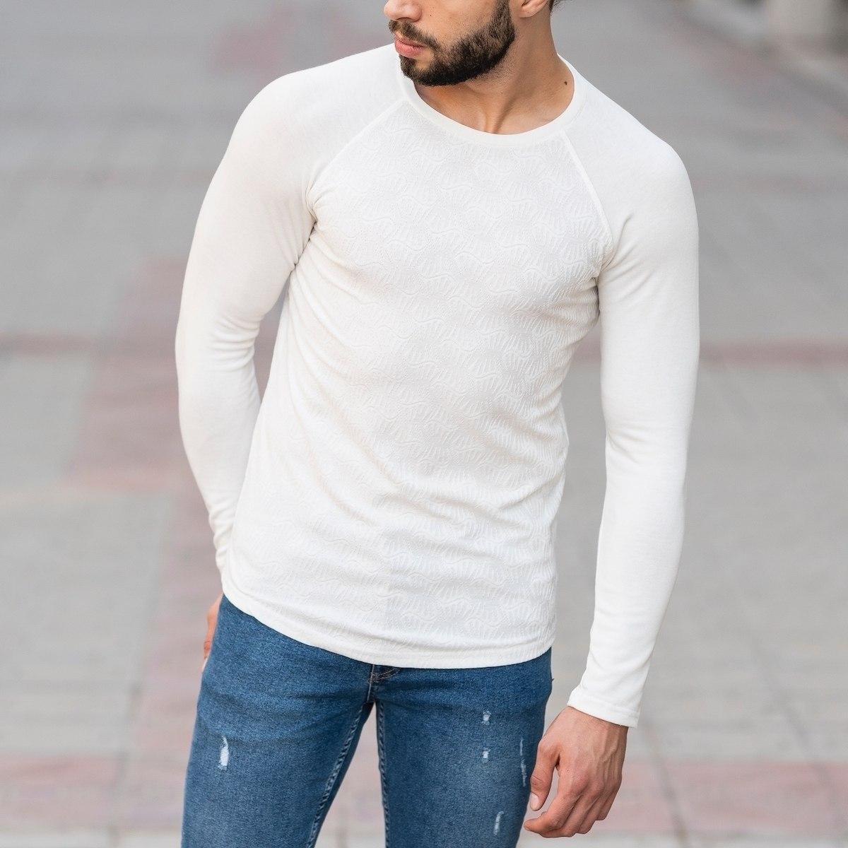 Engraved Sweatshirt In White Mv Premium Brand - 2