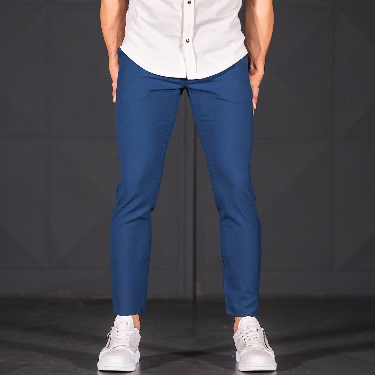 Modern Cut Trousers In Navy Blue Mv Premium Brand - 1