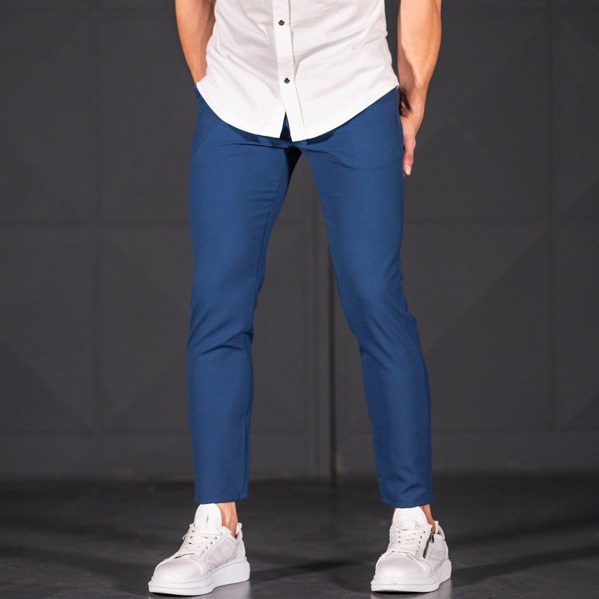 Modern Cut Trousers In Navy Blue Mv Premium Brand - 2