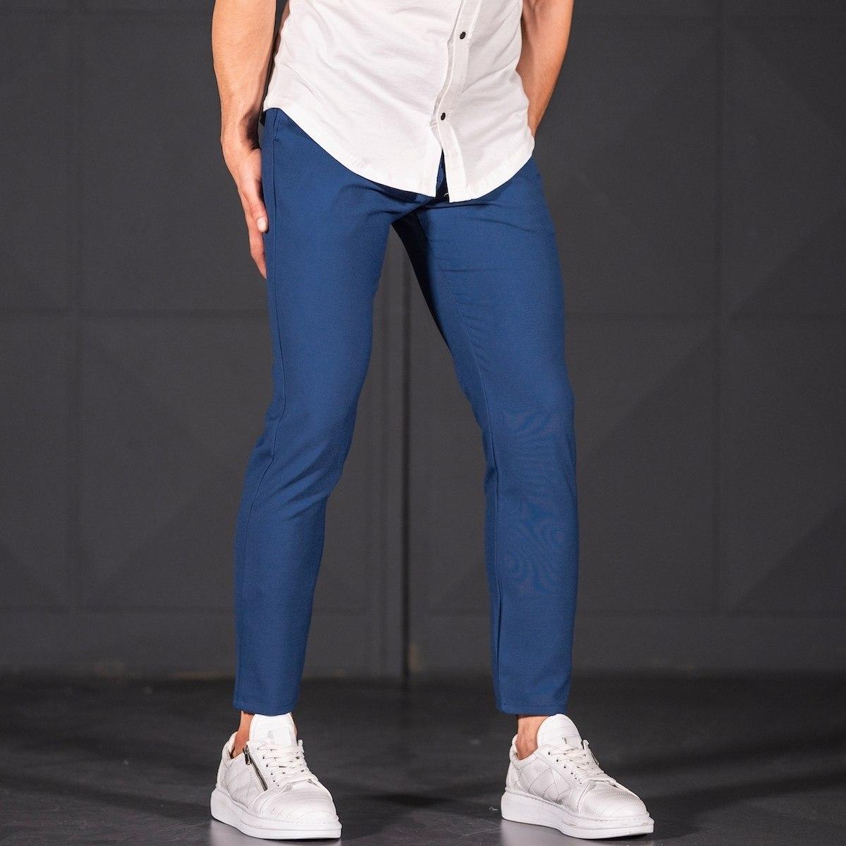 Modern Cut Trousers In Navy Blue Mv Premium Brand - 3