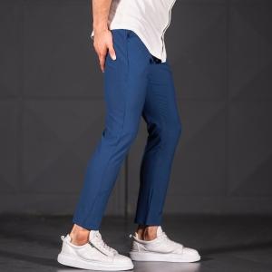 Modern Cut Trousers In Navy Blue Mv Premium Brand - 4