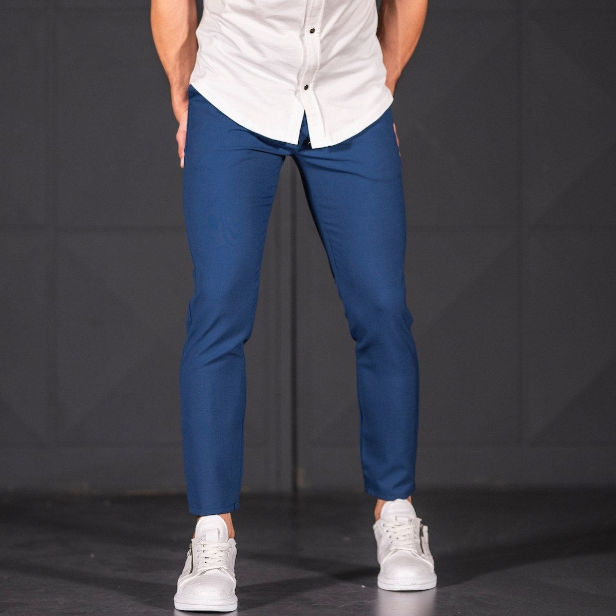 Modern Cut Trousers In Navy Blue Mv Premium Brand - 5