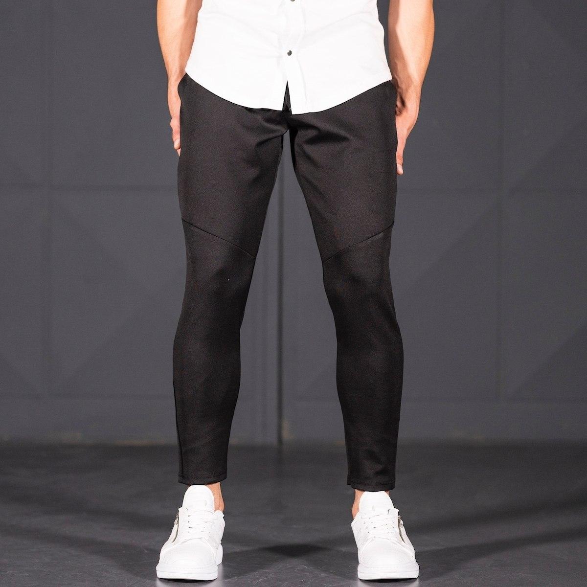 Horizonal Stitched Joggers In Black Mv Premium Brand - 1