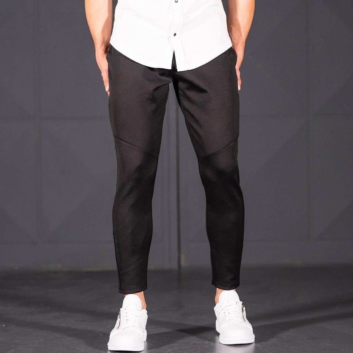 Horizonal Stitched Joggers In Black Mv Premium Brand - 2