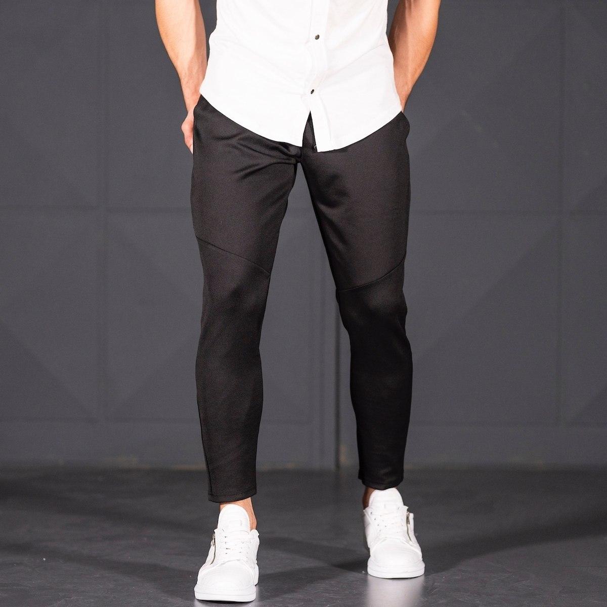 Horizonal Stitched Joggers In Black Mv Premium Brand - 4
