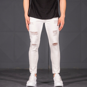 Scratched Jean In White Mv Premium Brand - 1