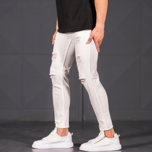 Scratched Jean In White Mv Premium Brand - 2