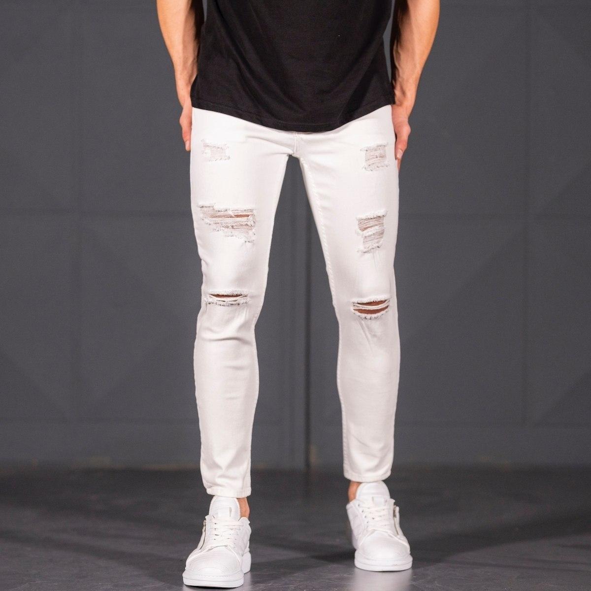 Scratched Jean In White Mv Premium Brand - 3
