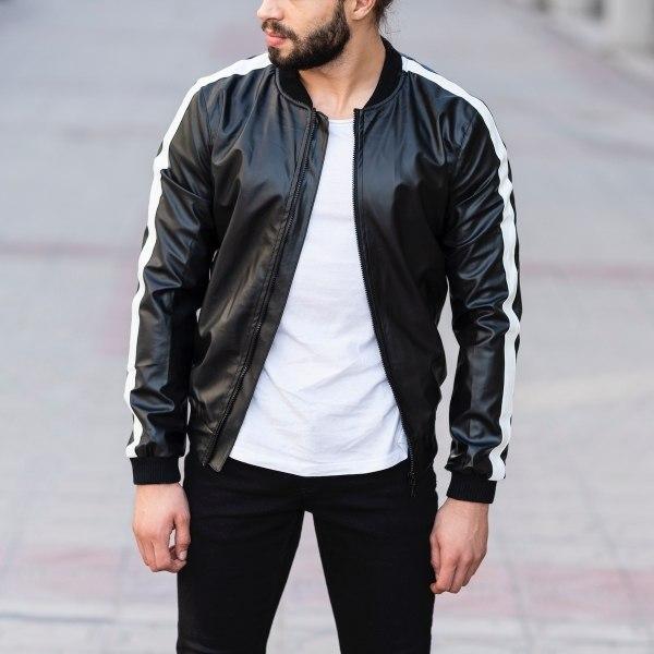 Vegan Leather Bomber Jacket...