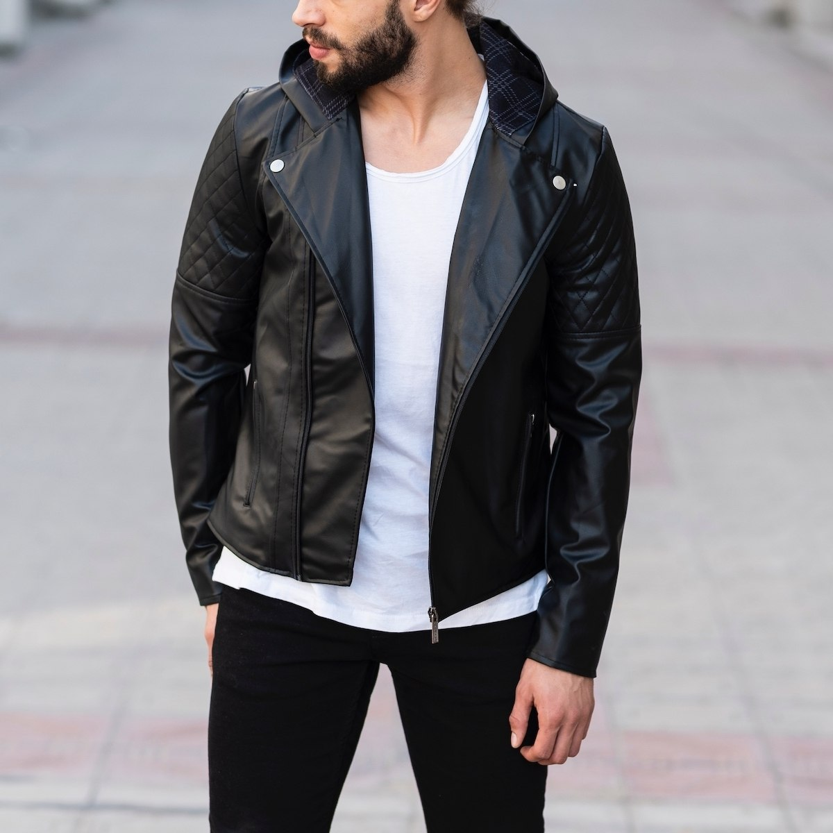 Hooded Double Breasted Biker Jacket