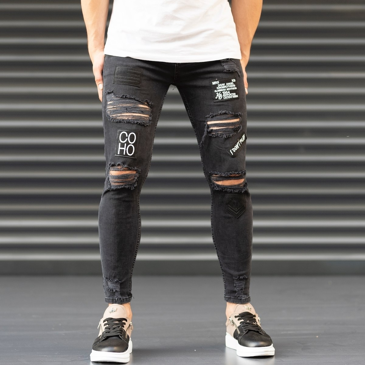 Men's Coho Patchwork Jeans With Heavy Rips In Black Mv Premium Brand - 1
