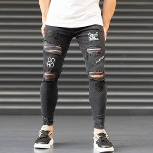 Men's Coho Patchwork Jeans With Heavy Rips In Black Mv Premium Brand - 2