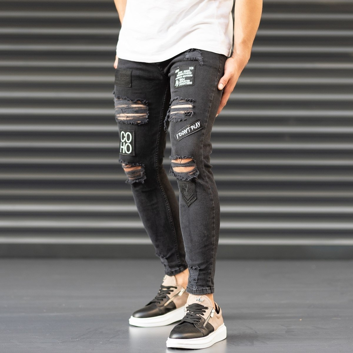 Men's Coho Patchwork Jeans With Heavy Rips In Black Mv Premium Brand - 3