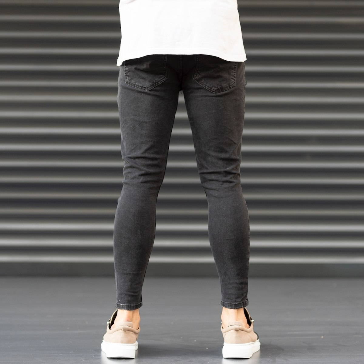 Men's Coho Patchwork Jeans With Heavy Rips In Black Mv Premium Brand - 4