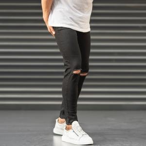 Ripped Jeans In Black Mv Premium Brand - 1