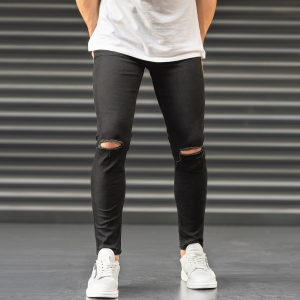 Ripped Jeans In Black Mv Premium Brand - 2