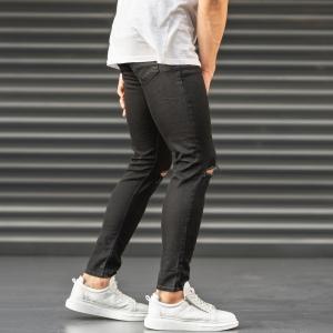 Ripped Jeans In Black Mv Premium Brand - 3