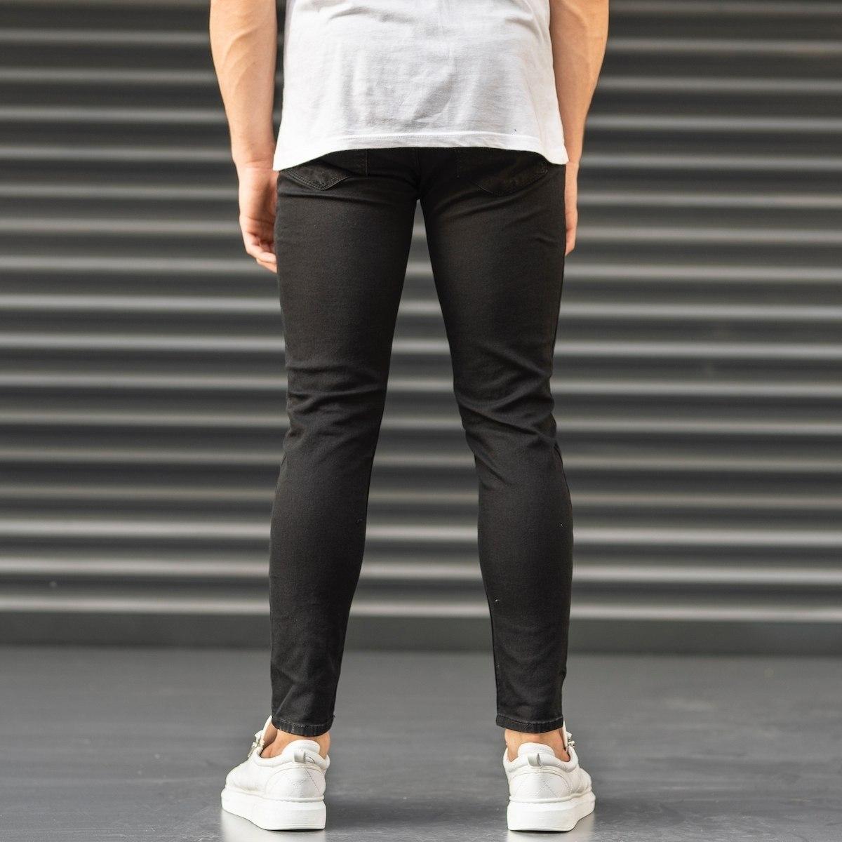Ripped Jeans In Black Mv Premium Brand - 4