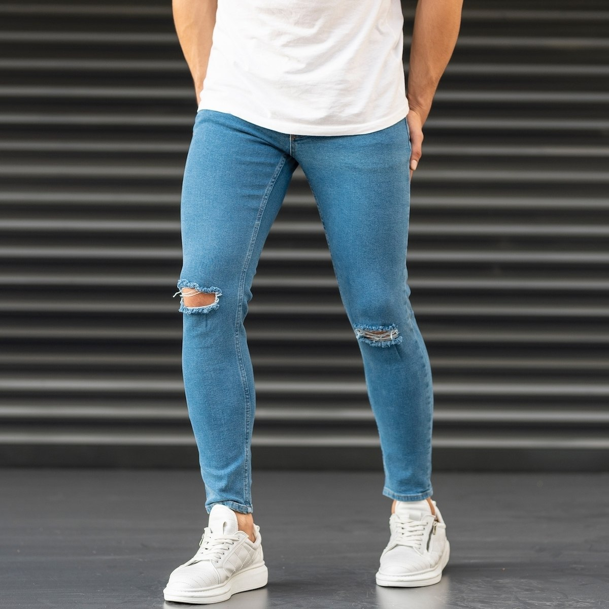 Ripped Jeans In Blue Mv Premium Brand - 1