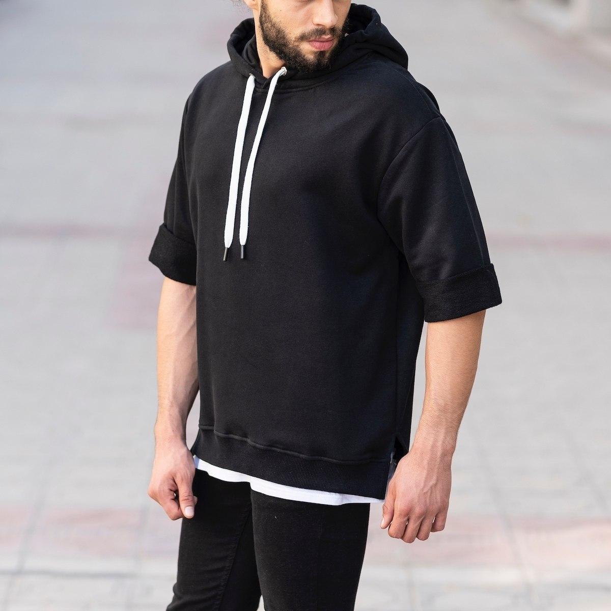 Short Sleeve Hoodie in Black