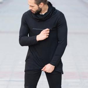Long Neck Sweatshirt with Zip in Black Mv Premium Brand - 1