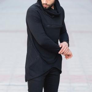Long Neck Sweatshirt with Zip in Black Mv Premium Brand - 2