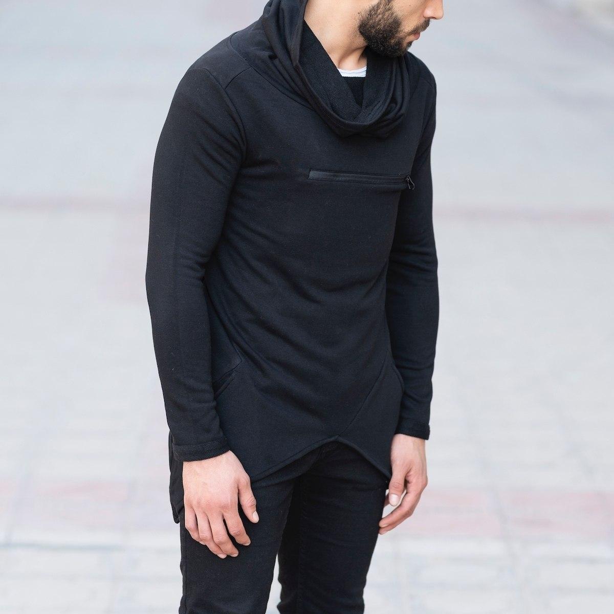 Long Neck Sweatshirt with Zip in Black Mv Premium Brand - 3