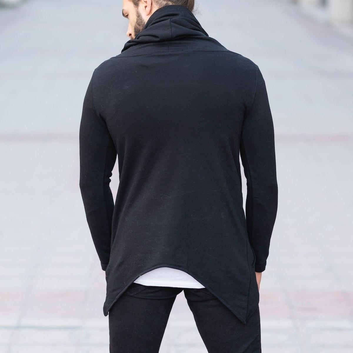 Long Neck Sweatshirt with Zip in Black Mv Premium Brand - 4