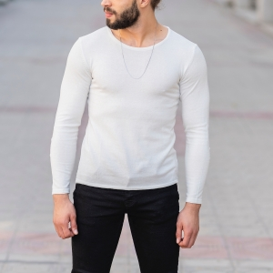 Slim-Fitting Classic Round-Neck Sweater in White Mv Premium Brand - 1