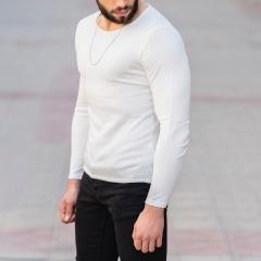 Slim-Fitting Classic Round-Neck Sweater in White Mv Premium Brand - 2