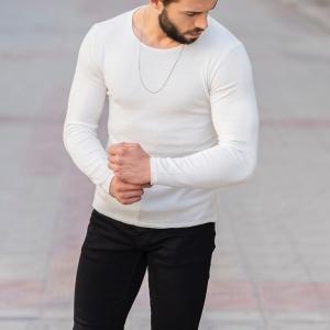Slim-Fitting Classic Round-Neck Sweater in White Mv Premium Brand - 4