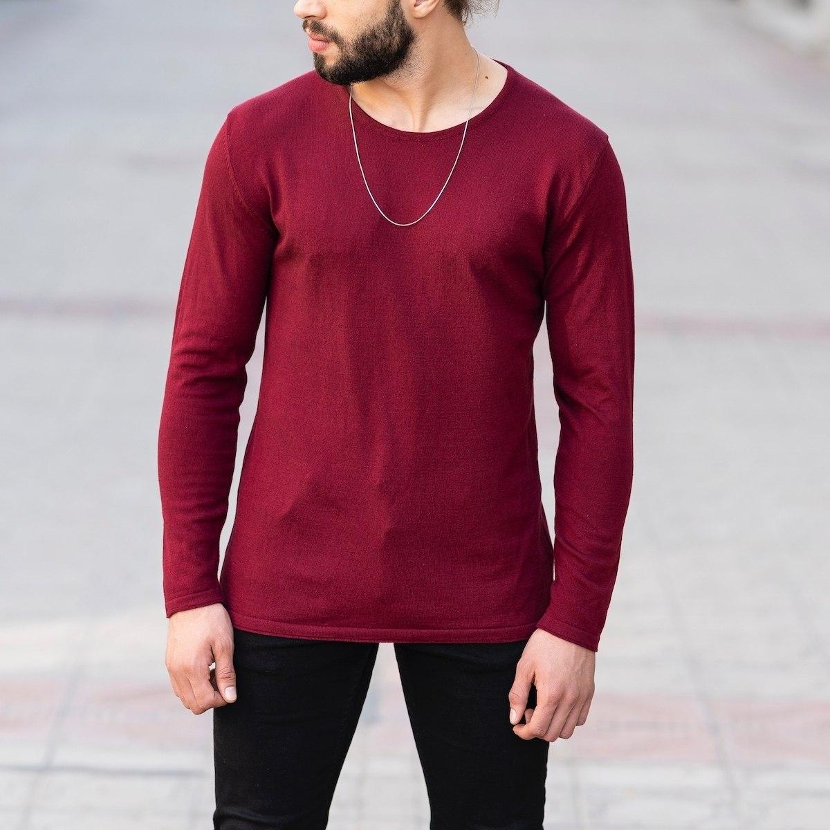 Slim-Fitting Classic Round-Neck Sweater in Claret Red Mv Premium Brand - 1