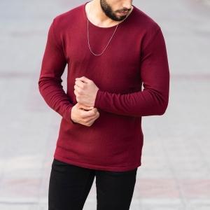 Slim-Fitting Classic Round-Neck Sweater in Claret Red Mv Premium Brand - 2