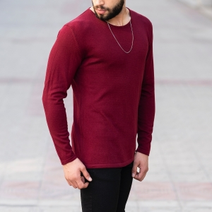 Slim-Fitting Classic Round-Neck Sweater in Claret Red Mv Premium Brand - 3