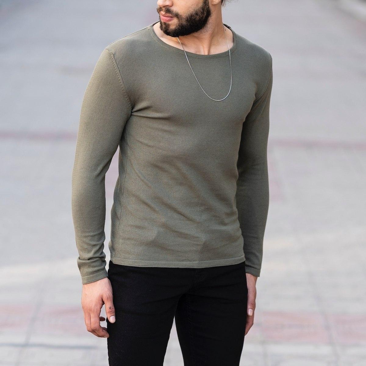 Slim-Fitting Classic Round-Neck Sweater in Khaki Mv Premium Brand - 2