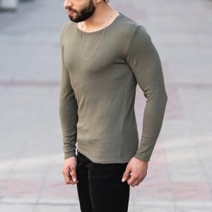 Slim-Fitting Classic Round-Neck Sweater in Khaki Mv Premium Brand - 3