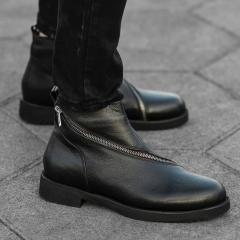 Cross-Zip Leather Chelsea Boots in Black Mv Premium Brand - 1