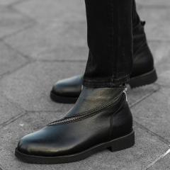 Cross-Zip Leather Chelsea Boots in Black Mv Premium Brand - 2