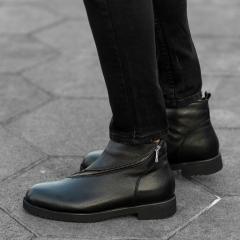 Cross-Zip Leather Chelsea Boots in Black Mv Premium Brand - 3